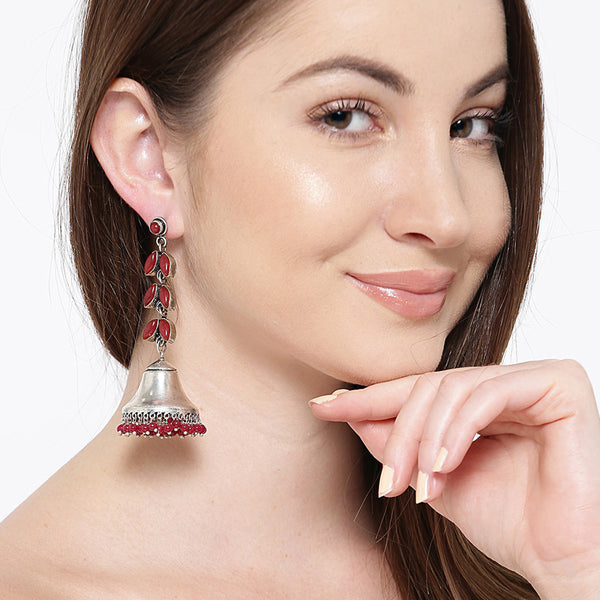 Oxidized Silver Tone Earrings with Maroon Stones