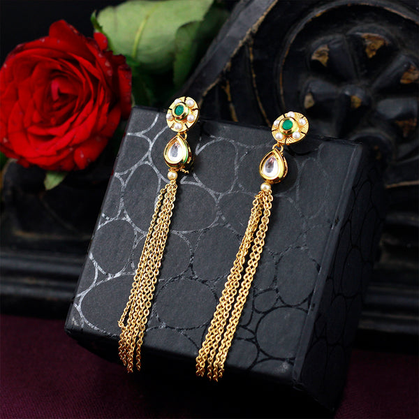 Gold Kundan Earrings With Chain