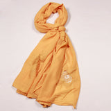 Solid Yellow Lace Cotton Scarf