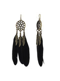 Triple Black Feather Drop Earrings