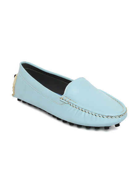 Estatos Broad Toe Blue Comfortable Flat Slip On Lofaers for Women