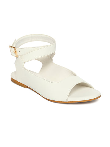 Estatos White Buckle Closure Ankle Strap Open Toe Flat Sandals