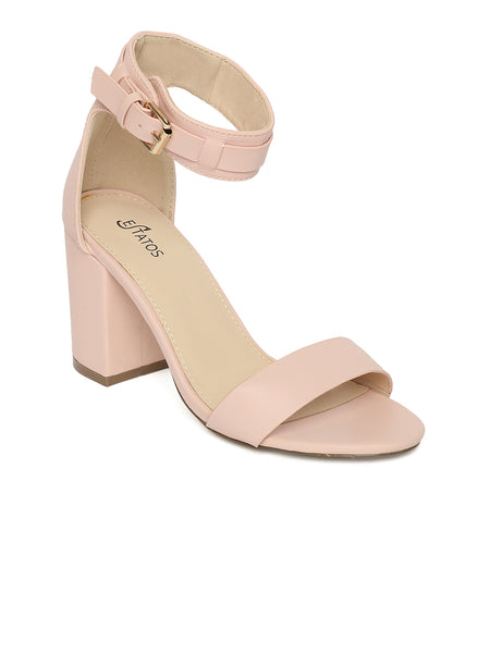 Estatos Matte Leather Ankle Strap Block High Heeled Pink Sandals