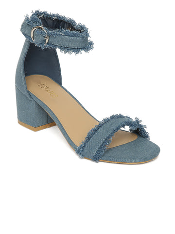 Estatos Denim Blue  Buckle Closure Ankle Strap Open Toe Block Heel Sandals