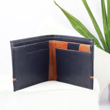 Two Fold Black Wallet with Contrast Stripe