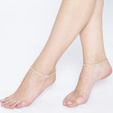 Gold Tone Anklets with Crystals