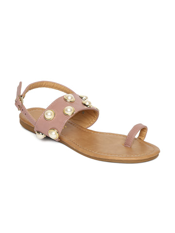 Estatos Purple Buckle Closure  Broad Strap Open Toe Flats