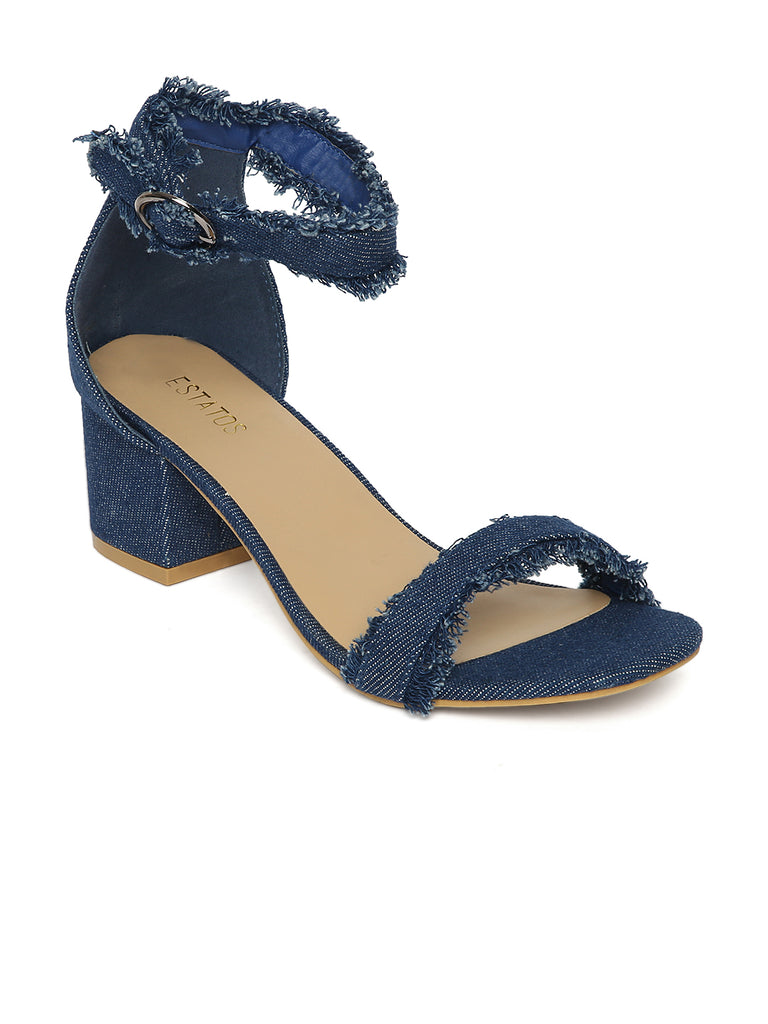 0498d3f89e7 Estatos Denim Navy Blue Buckle Closure Ankle Strap Open Toe Block Heel  Sandals