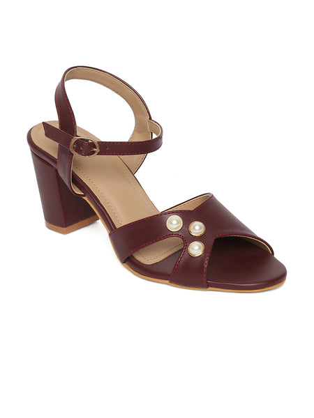 Estatos Synthetic Leather Open Toe Block Heeled Burgundy  Sandals
