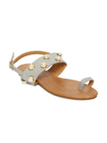 Estatos Grey  Colour Buckle Closure Open Toe Broad Strap Casual Flats
