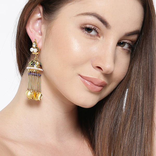 Multi Color Gold Matte Earrings