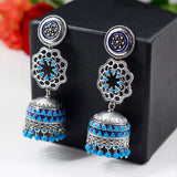 Silver Tone Blue Beaded Jhumka Earrings