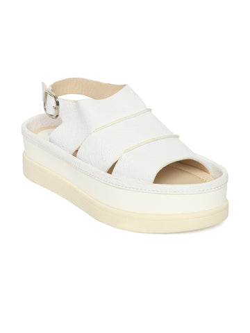 Estatos PU White Coloured Buckle Closure  Multi Strap Platform Sandal