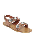 Estatos Suede Nude  Buckle Closure Twin Strap Open Toe Flat Sandals