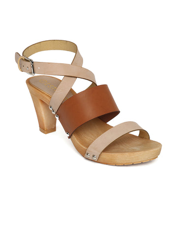 Estatos Leather Brown & Peach Buckle Closure Multi Strap Open Toe Stilettos