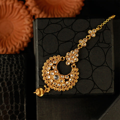 Crystal Encrusted Gold Maang Tikka