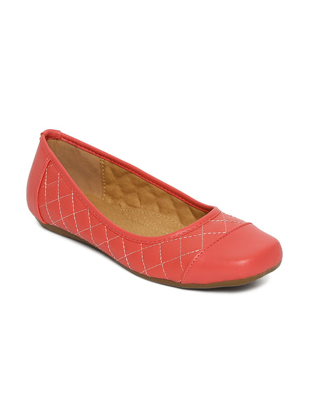 Estatos Synthetic Leather Quilted Flat Comfortable Pink/Peach bellerina/shoes