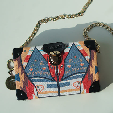 Multi-coloured Box Clutch with quirky print