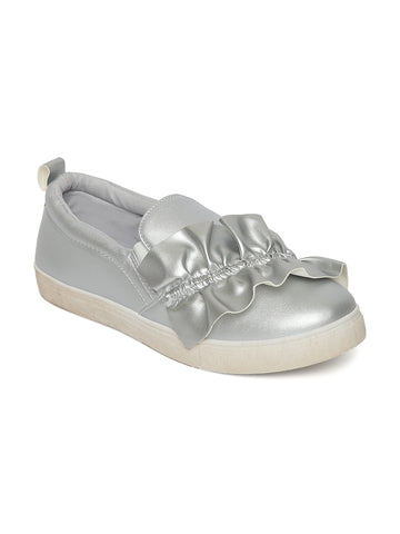 Estatos Leather Silver Coloured Broad Toe Loafers