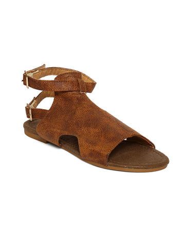 Estatos Brown Buckle Closure Ankle Strap Open Toe Flat Sandals