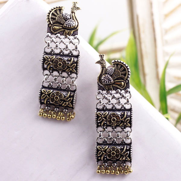 Peacock Motif Oxidized Dangler Earrings