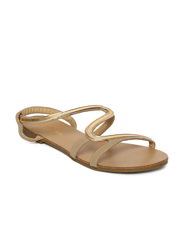 Estatos Faux Leather Open Toe Snake Shape Metallic Strap Beige Flat Sandals for Women