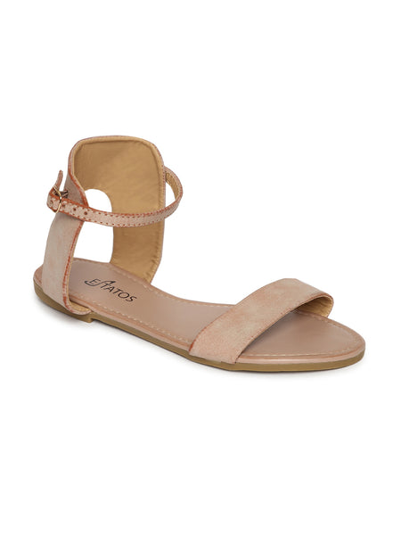 Estatos Frosted Leather Open Toe Ankle Strap Buckle Closure Beige Flat Sandals for Women