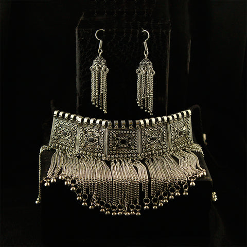 Silver Tone Choker Necklace Set With Multi Chains