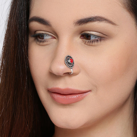 Red Stone Silver Tone Nose Pin