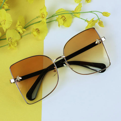 Angular Sunglasses with Insect Motifs