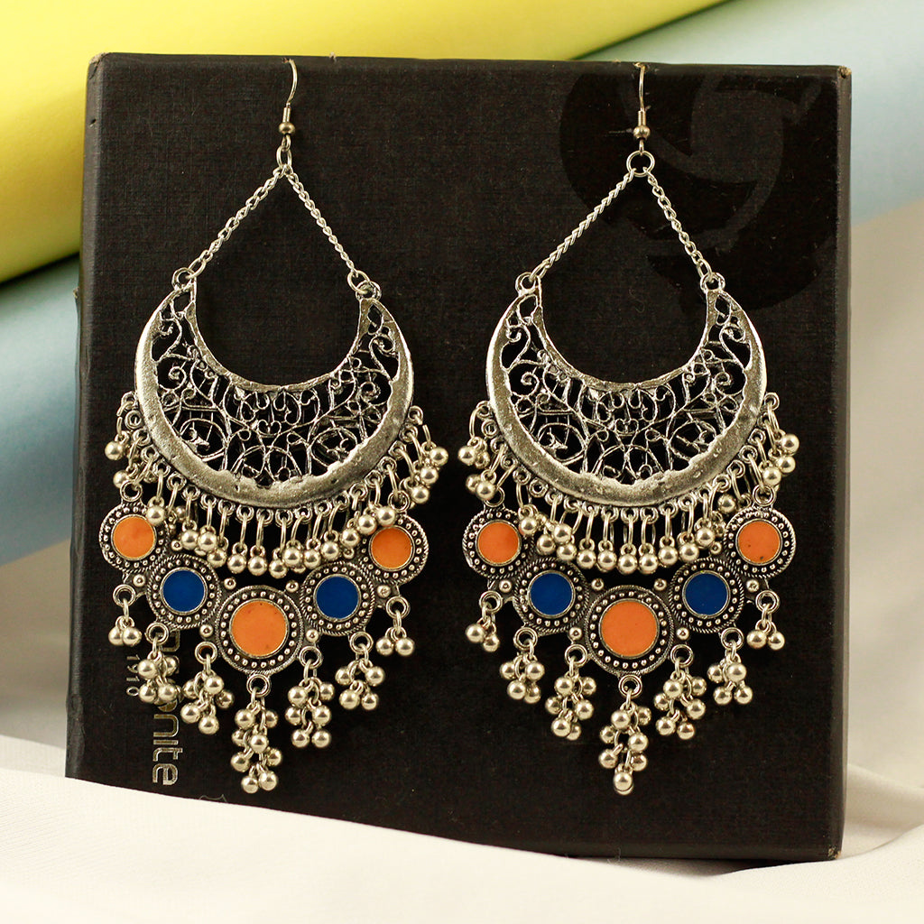 1ea28fdfd Oxidized Silver Tone Afghani Earrings With Beads – FizzExpress
