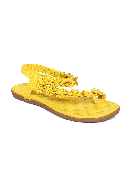 Estatos Faux Leather Flower Decorated Toe Yellow Flat Sandals for Women