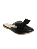 Estatos Leather Black Pointed Toe Flat Mules