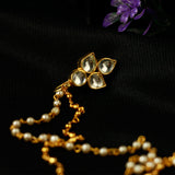 Kundan Studded Pearl Chain Nose Pin