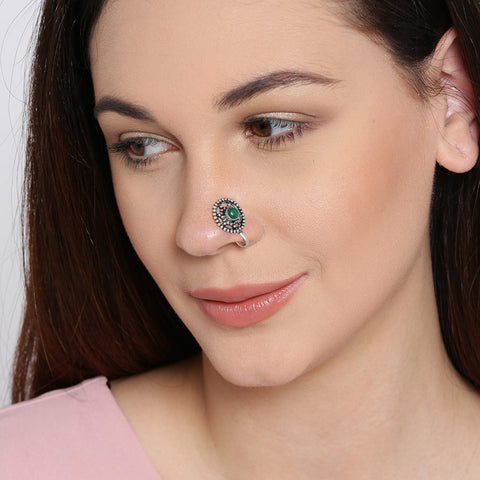 Silver Tone Round Shape Nose Pin With Stone