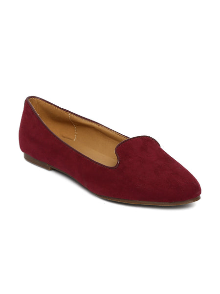 Estatos Suede Leather Pointed Toe Comfortable Burgundy  Ballet Flats for Women