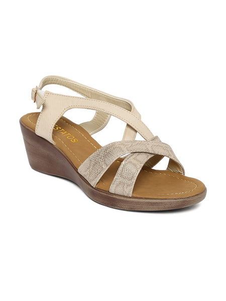 Estatos PU Cross Strap Open Toe Platform Wedges