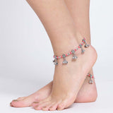 Silver & Red Coloured Anklets