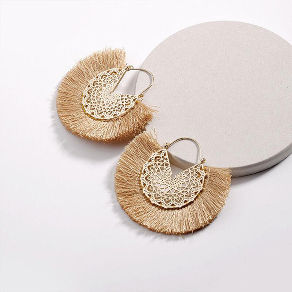 Laser-cut Metal Earrings with Thread