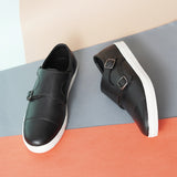 Black Slip Ons with Monk Straps