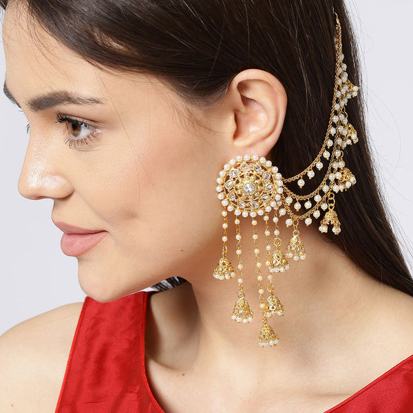 Gold Plated White Polki & Pearl Earrings