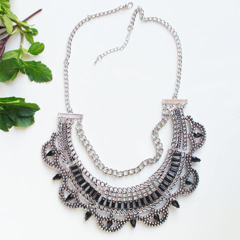 Stone Studded Silver Toned Statement Necklace