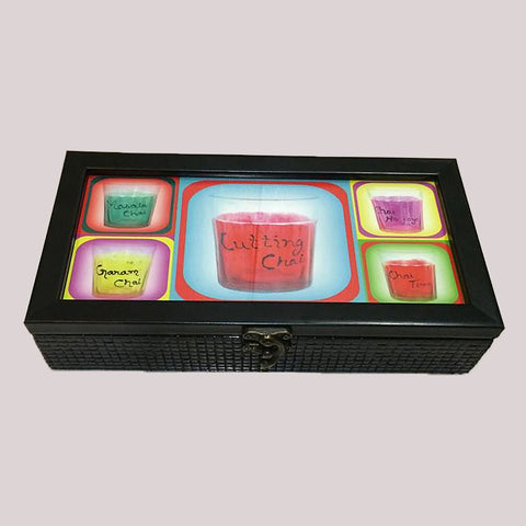 Handpainted Chai He Chai Wooden Tea Box