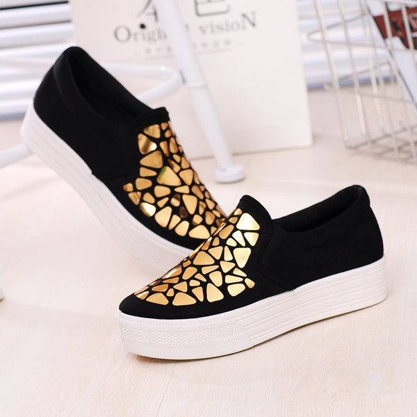 Fashion Sneakers: Gold Pebbles & Black