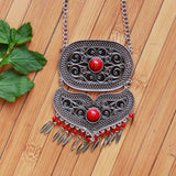 Oxidized Traditional Silver Toned Statement Necklace With Stones