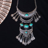 Tiered Silver Tone Statement Necklace with Gemstones
