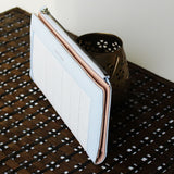 Contrast Border Leather Clutch