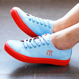 Women's Canvas Sneakers With Contrast Laces