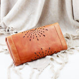 Laser Cut Brown Clutch
