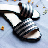 Striped Black and Grey Open Toe Flats